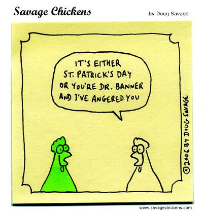 st patricks day cartoon green chicken hulk