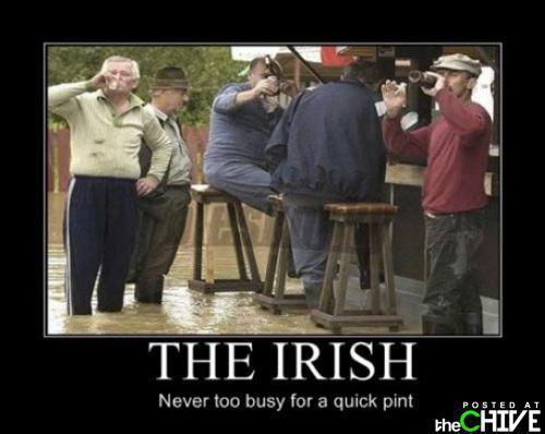 St Patrick's Day Irish standing in water at the bar