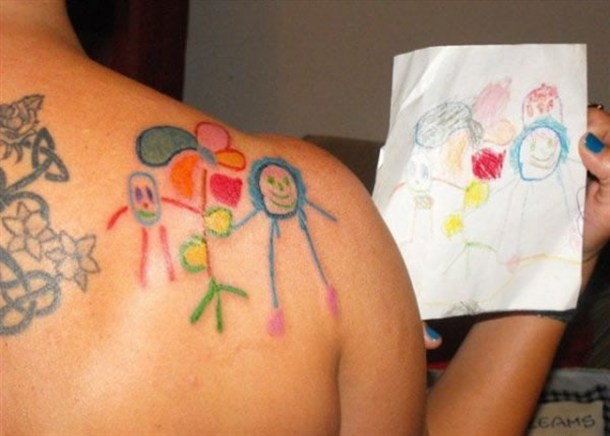 tattoo of childs drawing this is loving your kid