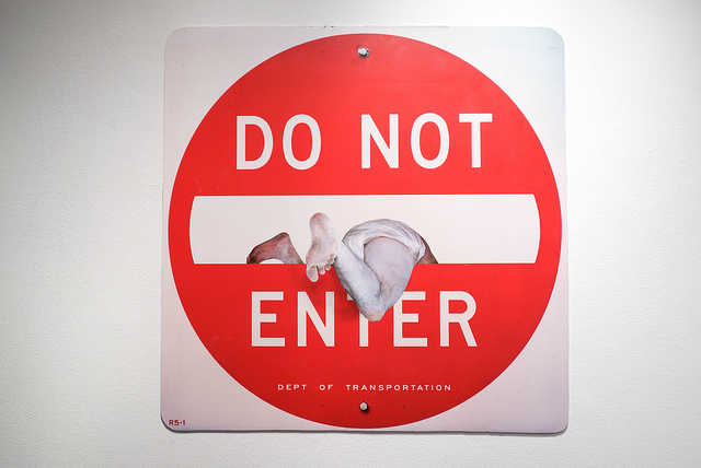 do not enter sign 3d baby crawling in sign