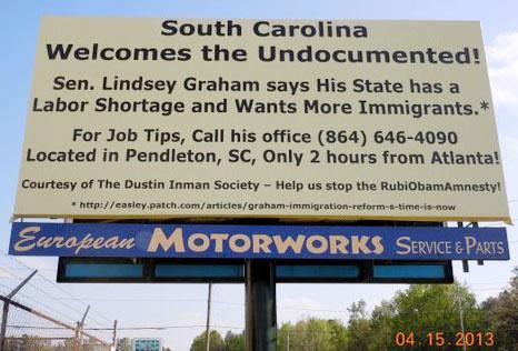 GA billboard that SC wants immigrants