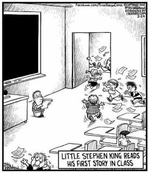little stephen king cartoon sharing his first story