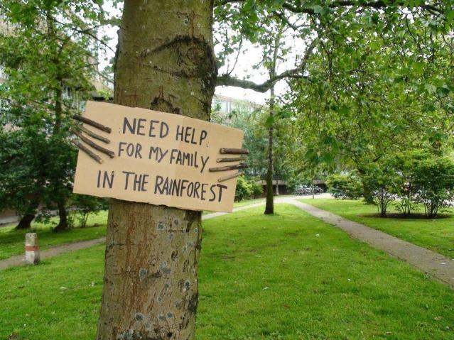 tree holding sign family in rainforest needs help