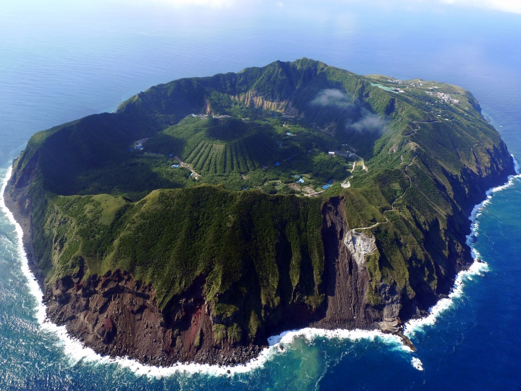 Volcano crater is an island