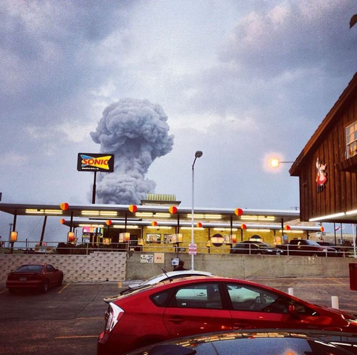 In this Instagram photo provided by Andy Bartee, a plume of smoke rises from a fertilizer plant fire in West, Texas on Wednesday, April 17, 2013. An explosion at a fertilizer plant near Waco Wednesday night injured dozens of people and sent flames shooting high into the night sky, leaving the factory a smoldering ruin and causing major damage to surrounding buildings. (AP Photo/Andy Bartee) MANDATORY CREDIT: ANDY BARTEE. Source