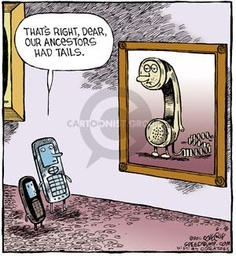 cartoon cell phone ancestors humor