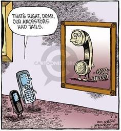 cartoon cell phone ancestors humor