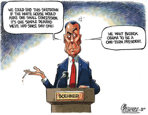 boehner one-term president demand for debt ceiling increase political cartoon
