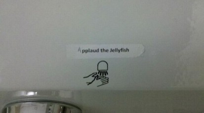 image instructions hand dryer says to applaud the jellyfish