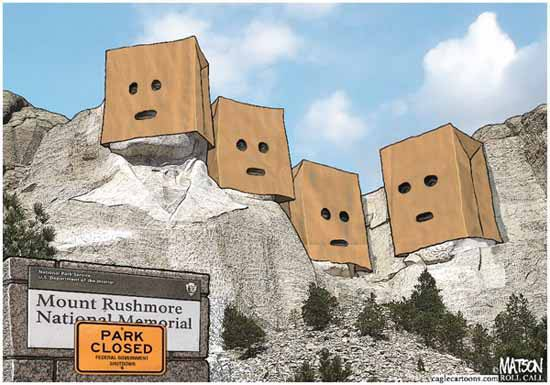 Mt-Rushmore-Embarrassed-political-cartoon-shutdown