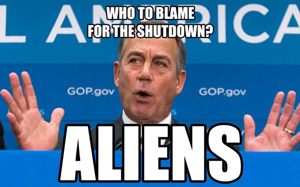 boehner blame aliens for shutdown