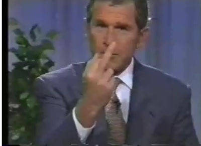 bush flipping the bird photo
