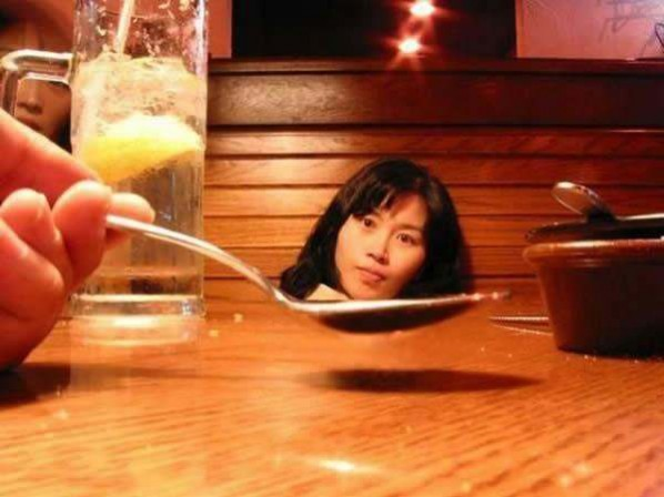 photos mess with mind head in soup spoon
