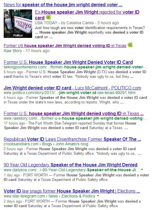 speaker of the house jim wright denied voter id card - Google Search