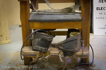 Ankle straps on the electric chair.