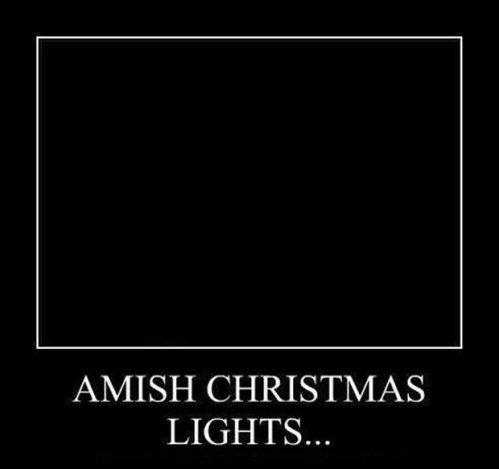 Amish Christmas lights meme.