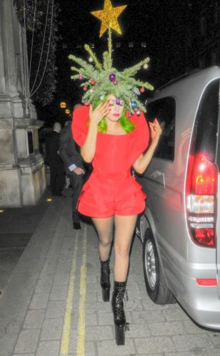 Woman wearing a strange holiday outfit.