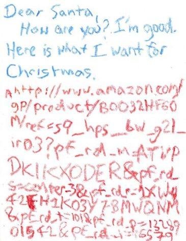 Child sends Santa an Amazon URL for the present he wants.