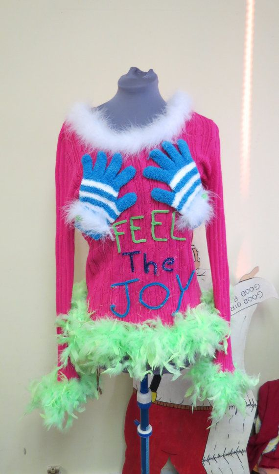 ugly christmas sweater gloves on the boobs - Feel The Joy Christmas Sweater