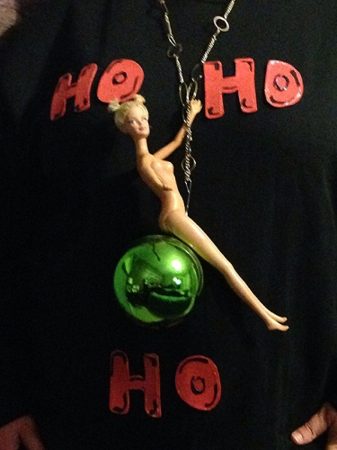 Barbie doll in a Christmas ornament.