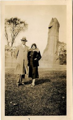 Old photo. Penis-shaped rock in the background.