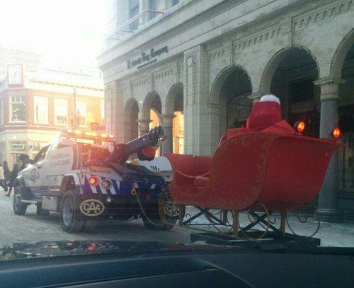 Santa's sleigh be towed away.