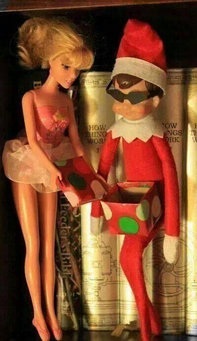elf-on-a-shelf-giving-barbie-a-gift