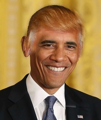 Image result for obama with donald trump hairdo
